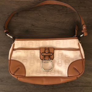 Etienne Aigner White Cloth And Brown Leather Bag